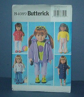 """Sewing Pattern B4089 Butterick, Doll clothes 18"""" American Girl Doll."""