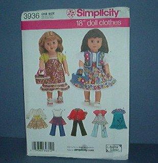 "Sewing Pattern Simplicity 3936 Doll Wardrobe 18"" doll"