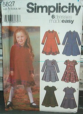 Simplicity Sewing  Pattern 5827 Dress six styles easy Size 3-8