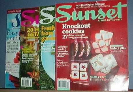 Magazines - Sunset - Feb. April & Dec, 2009 and Jan 2004 - 4 copies