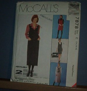 Sewing Pattern McCall's 7878 Jumper in two lengths with blouose size 14 16 18