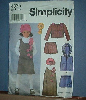 Simplicity Sewing  Pattern Child 7835 pullover jmper, vest, top, skrt and hat.  Size 3-8