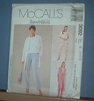 Sewing Pattern McCall's 3092 Unlined jacket (two lengths) vest and pull on pants Size 14-18