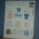 Sewing Pattern McCall's 7728 9 shirts size 14 16 18