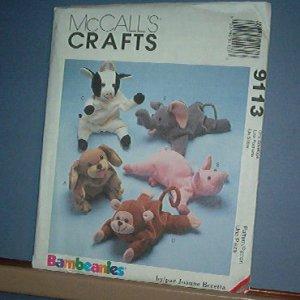 "Sewing Pattern McCall's 9113 Bean Bag animals, Puppy, Piggy, Cown, Monkey, elephant 9 """
