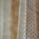 Sewing Fabric - Quilting Pieces  - 6 each - beige and tan prints