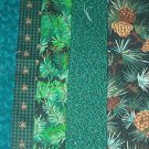 Sewing Fabric - Quilting Pieces  -5 each - small prints dark green