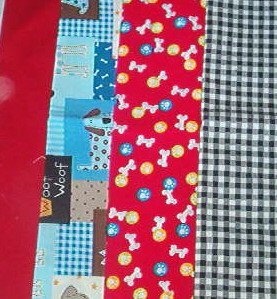 Sewing Fabric - Quilting Pieces  -4 each - black & white check, two dog patterns and deep red