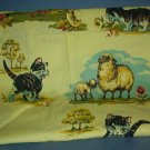 Sewing Fabric Cotton Yellow print, vintage, cats and sheetp No. 269