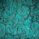Sewing Fabric No. 272  Large Paisley w/ glitter Turquois & Black