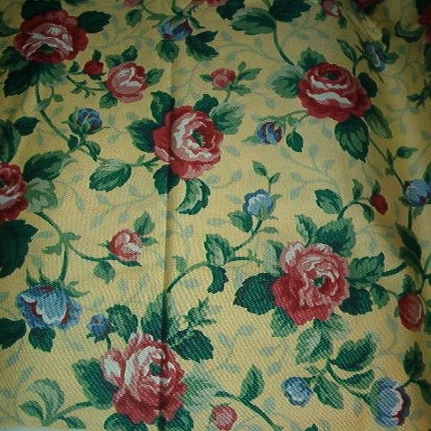 Sewing Fabric No. 281 Cotton Decorator Yellow with red roses, pretty.
