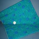 Sewing Fabric Cotton No 319 Blue roses on green, pretty