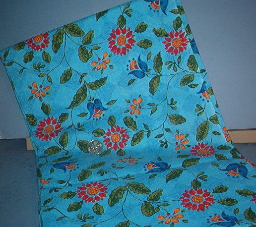 Sewing Fabric Cotton No 324 Fower print blue with diamond background