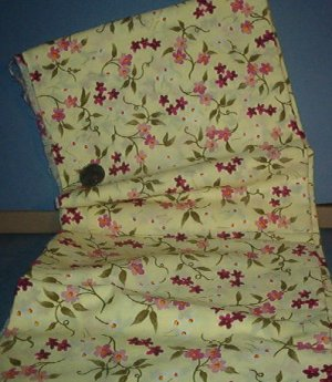 Sewing Fabric Cotton No 332 Pale green with bright orange flowers