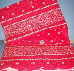 Sewing Fabric Cotton No 336 Red Flowers on a red back ground