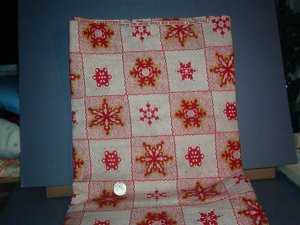 "Sewing Fabric Cotton No 339  Snowflakes 3"" square"