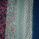 Sewing Fabric Cotton No 377 - 5 each - l.25  yard quilting lengths