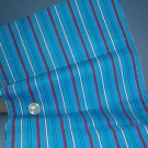 Sewing Fabric  No 361 - Red, Aqua and white stripes on blue flannel