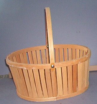 "Basket - Straight sides with woven bottom and movable handle. 5X8X10"" Pretty"