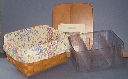 """Basket - Longeberger Card Index - 7X5.5X4"""" with liner and protector.  Very Nice"""