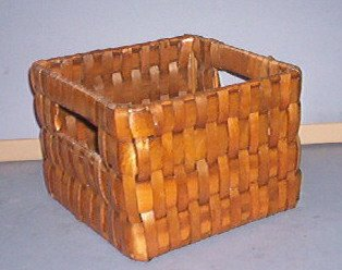 Basket - Square sturdy weave - 5 X 5 X 4 inches with handle holes.  Very Strong and even.