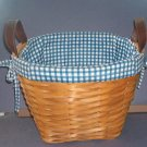 "Basket - General Store Bushel Basket - Blue/white liner - strong weave - 11"" across, 8"" high"
