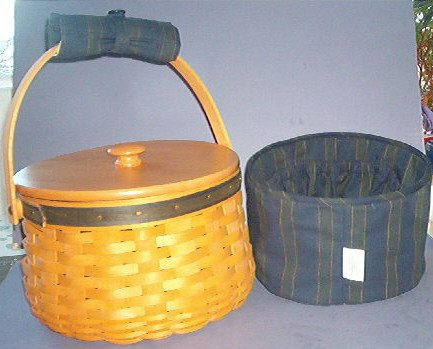 "Basket - Large Round Sewing Box, 6"" deep 8"" across - liner (navy) and protector. Longaberger. Neat"