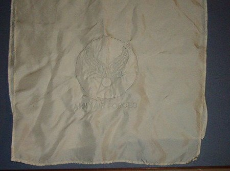 """Banana Republic Scarf - silk - 70X13"""" - Embroidery Eagle wings Army Air Forces"""