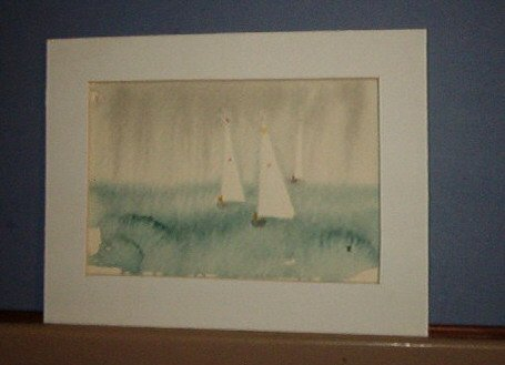 "Painting - 5X5"" watercolor, three sailboats - Zimmerman - Very Nice"