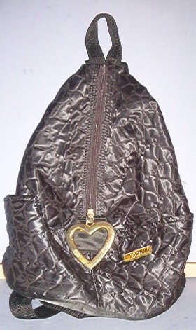 """Purse - Black ruck sack - 13""""X10""""X5.5"""" - snap hanger - quilted satin - side entry.  Cool"""