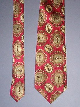 "Neck Tie - Necktie - Silk burgundy with beige design - Vito Rotolo - 3.5"" across - very nice"