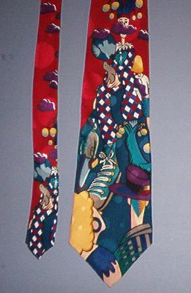 """Neck Tie - Necktie - Fool on the Hill, The Beatles 12/8/67, Burgundy with the fool. 4"""" across Cool"""