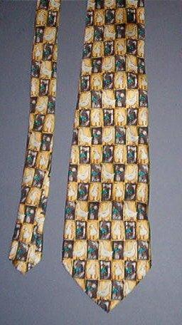 "Neck Tie - Necktie - Goose in squares - 4"" across - Golf Club Brand - Sweet"