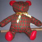 "Teddy Bear - 18"" tall - Riverdale USA - Christmas Plaid - Like New"