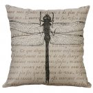 Decorative cushion cover Cotton linen Vintage Butterfly Dragonfly Sofa Home Decor Throw pillow cover