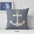 Mediterranean sea blue compass anchor pillowcase home decorative pillows linen pillowcase