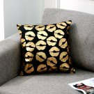 Black Golden Cushion LOVE Heart Lips Gold Cushion Decorative Pillows Home Decor Throw Pillow Sofa