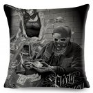 Motorcycle Skull and Sexy Girl Cushion Cover for Sofa case Decor Linen Plush  Pillowcase