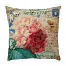 Beautiful Floral Cushion Cover Vintage Floral Print Linen Cushion Cover Decorative Sofa Pillowcase