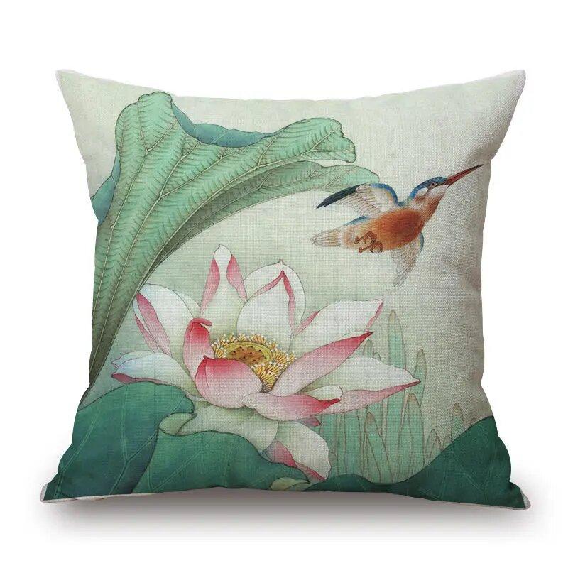 45x45cm Vintage Lotus Flower Cotton Linen Throw Pillow Case Waist Cushion Cover