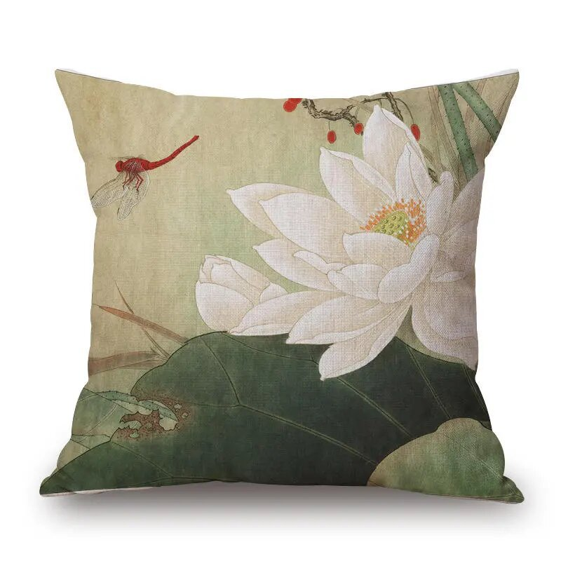 45x45cm Vintage Lotus Flower Cotton Linen Throw Pillow Case Waist Cushion Cover