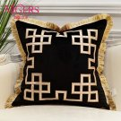 Luxury Embroidered Cushion Covers Velvet Tassels Pillow Case Home Decorative European Sofa