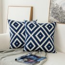 Embroidered cotton pillowcase for home, navy / white, geometric embroidery and floral pattern