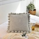 Knitted Cushion Cover Solid Gray Coffee Nordic Style Ball Pillowcase  Soft For Sofa Bed Room Home