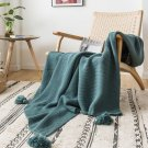 Knitted solid soft bedspread with pompom and tassels, travel blanket 130x160 cm, home sofa chair