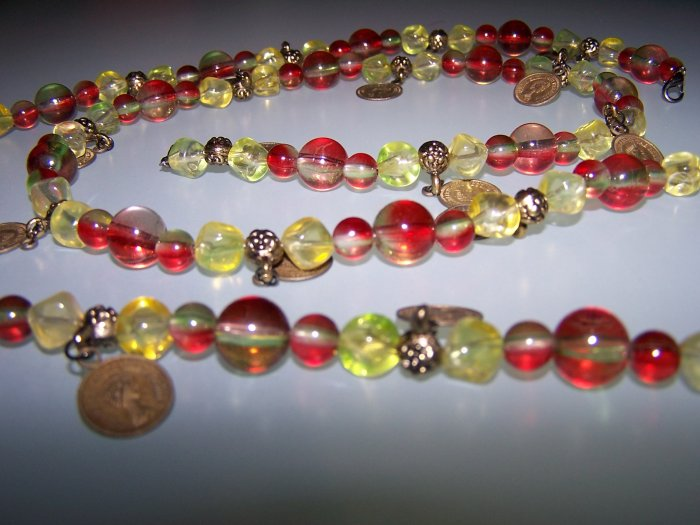 Colourful beads and coins belt