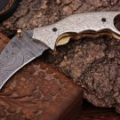handmade damascus steel Karambit Style pocket knife with engraved Handle