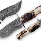 Beautiful Hand forged Damascus steel hunting knife
