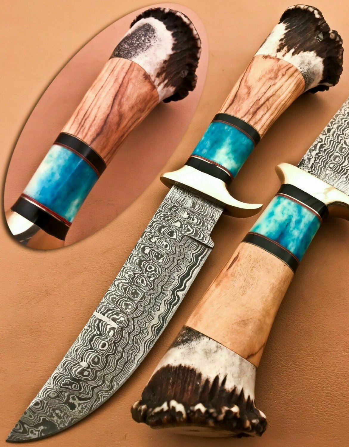 Hand forged custom made Damascus steel hunting Bowie knife