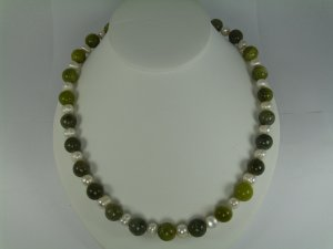 Green Aventurine & Pearl  Necklace RB781